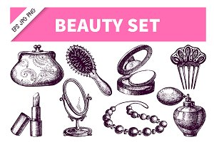 Beauty Cosmetics Hand Drawn Set