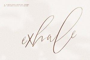 exhale.   calligraphy script font