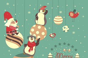 Funny penguins with Santa Claus