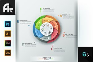Set Of 6 Infographic Spiral Charts