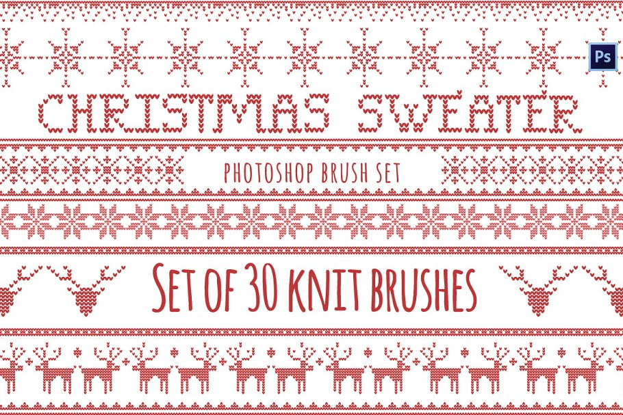 5d5dfc097 Christmas Sweater Brushes Photoshop ~ Illustrator Add-Ons ~ Creative ...
