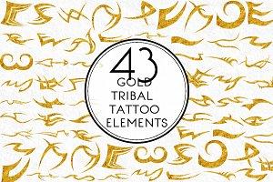 Gold Tribal Tattoo Elements