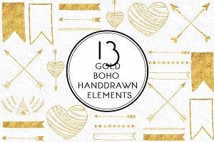 Gold Boho Handdrawn Elements