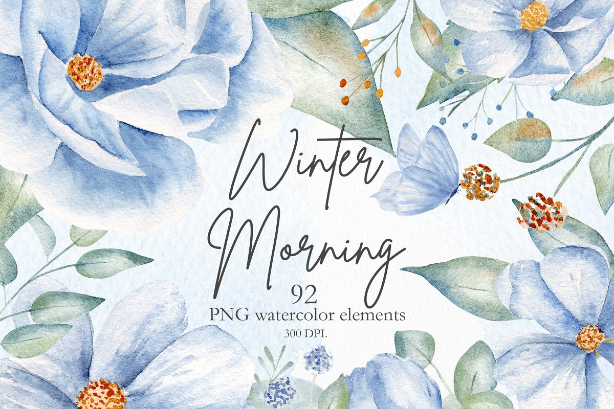 Winter Morning Watercolor Set in Illustrations - product preview 8