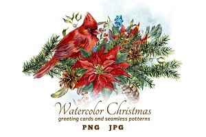 Watercolor Christmas Greeting Cards