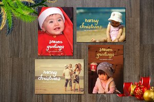 4 Holiday Photo Card - brush script