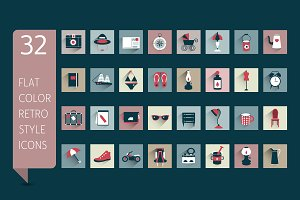 Retro flat icons set.