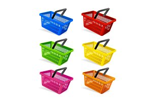 Plastic Basket Set. Vector