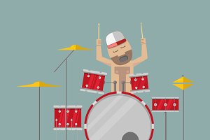 Drummer in trucker hat playing