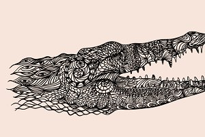 Patterned crocodile head