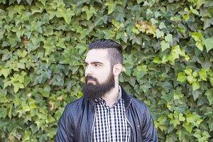 Modern man with a beard. Hipster