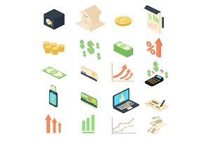 Finance banking management icons set