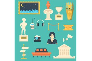 Museum flat icons set for web