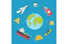 Logistics infographic. Trasportation