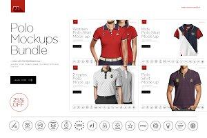 Polo Shirt Mock-ups Bundle 4in1