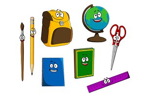 Cartoon school objects