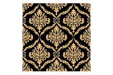 Damask floral pattern with brown col