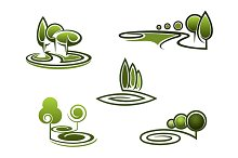Green trees elements for landscape d