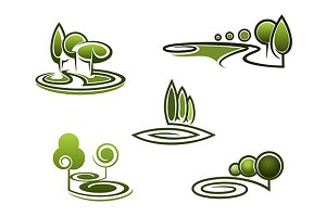 Green trees elements for landscape d