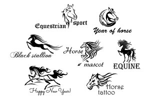 Black horses with decorative scripts
