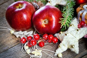 Christmas background with apples
