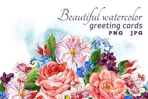 Beautiful watercolor greeting cards