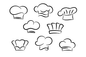 Chef and cook hats set