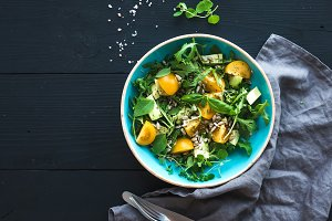 Bowl of green salad with avocado