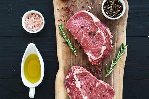 Raw ribeye steak entrecote