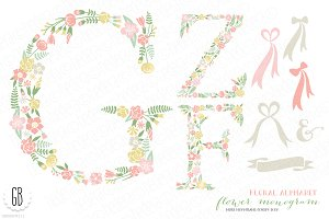Flower monogram, floral type F Z G