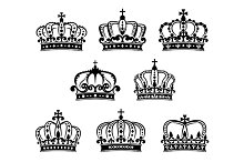 Ornated heraldic royal crowns set