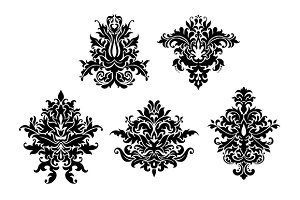 Floral damask patterns set