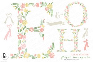 Flower monogram, floral type H O E