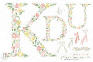 Flower monogram, floral type K U D