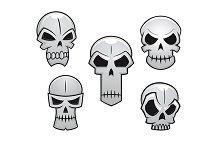 Cartoon skulls set with danger emoti
