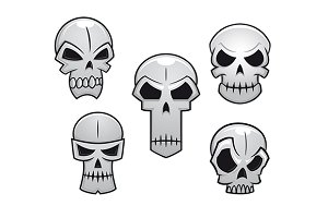 Cartoon skulls set with danger emoti