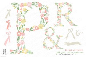 Flower monogram, floral type P R &