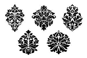 Floral and foliate damask design ele