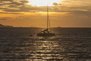 Sailboat sailing in the sea.