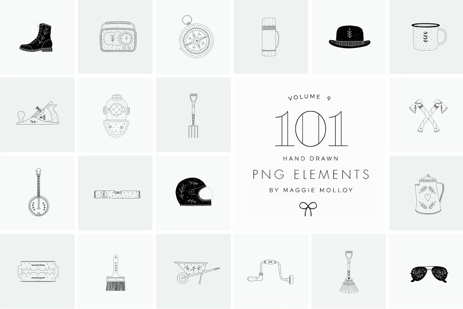 PNG 101 Hand Drawn Logo Elements in Illustrations