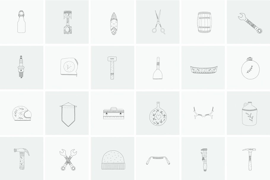 PNG 101 Hand Drawn Logo Elements in Illustrations - product preview 2