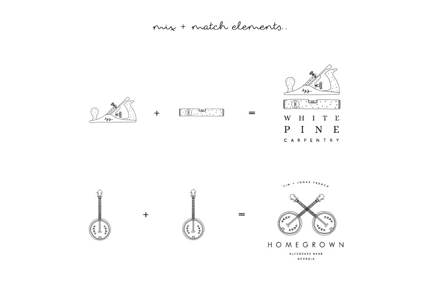 PNG 101 Hand Drawn Logo Elements in Illustrations - product preview 5