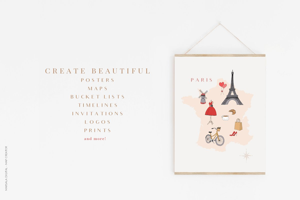 Map Creator Wedding Travel Summer in Illustrations - product preview 1