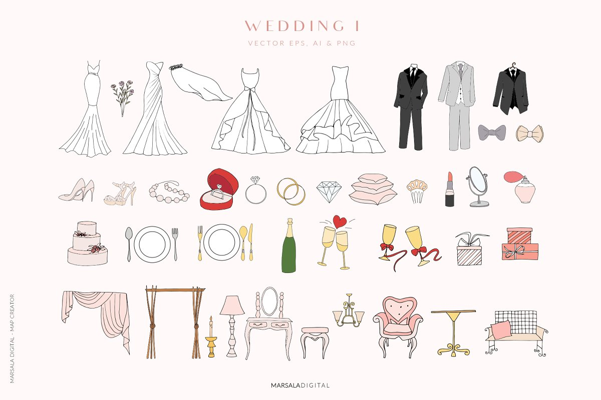 Map Creator Wedding Travel Summer in Illustrations - product preview 2