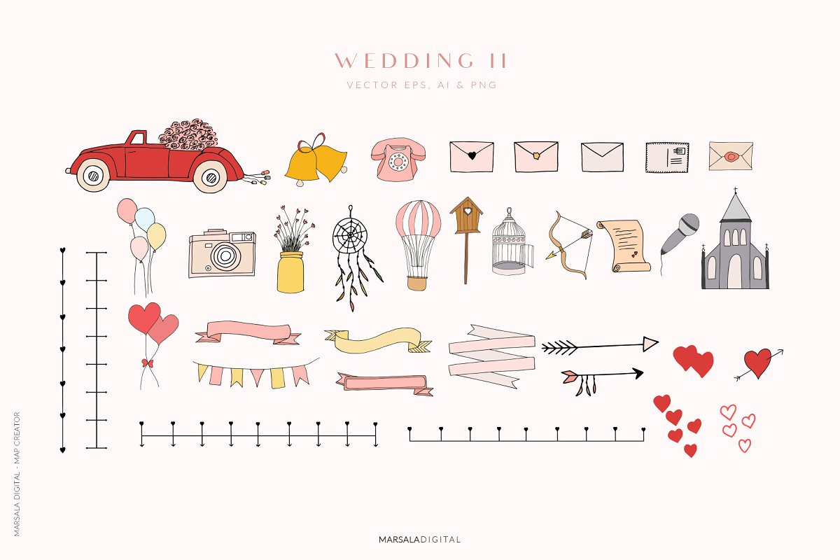 Map Creator Wedding Travel Summer in Illustrations - product preview 3