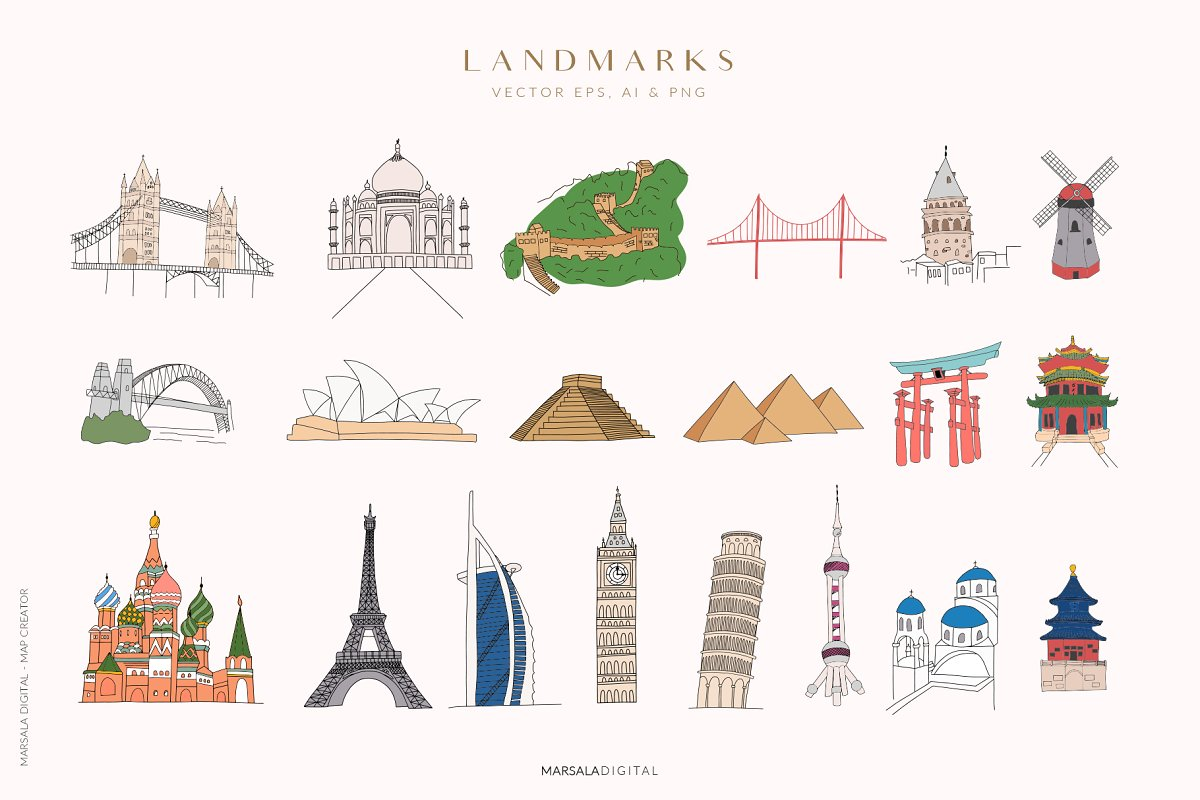 Map Creator Wedding Travel Summer in Illustrations - product preview 4