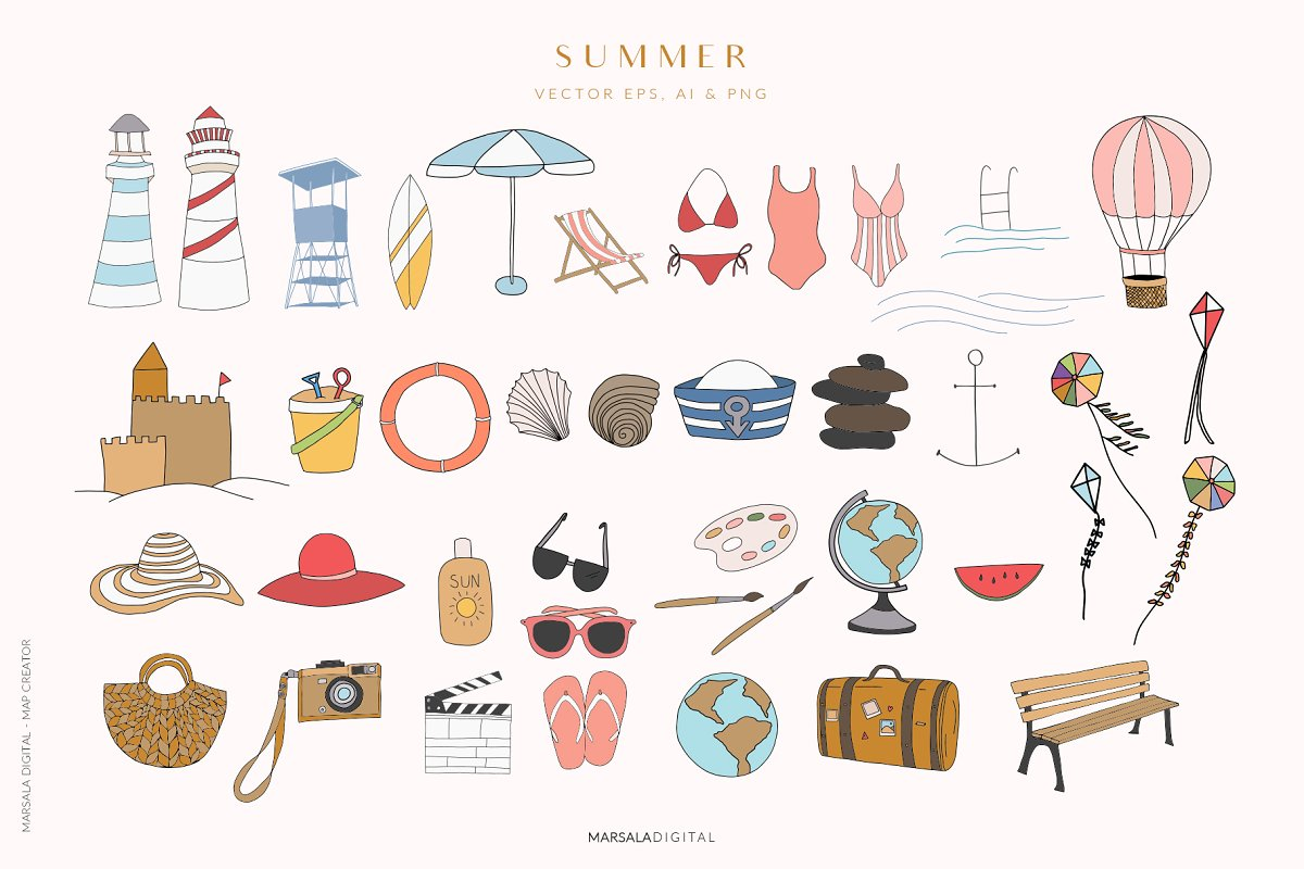 Map Creator Wedding Travel Summer in Illustrations - product preview 7