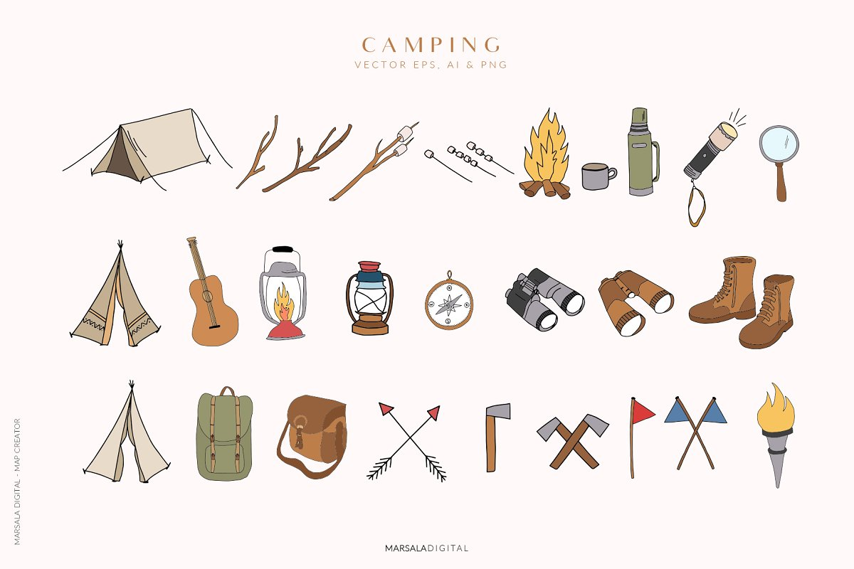 Map Creator Wedding Travel Summer in Illustrations - product preview 8