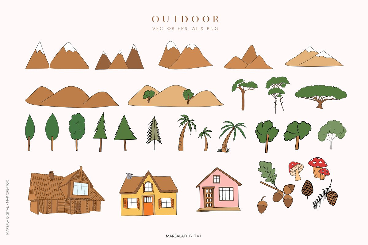 Map Creator Wedding Travel Summer in Illustrations - product preview 9