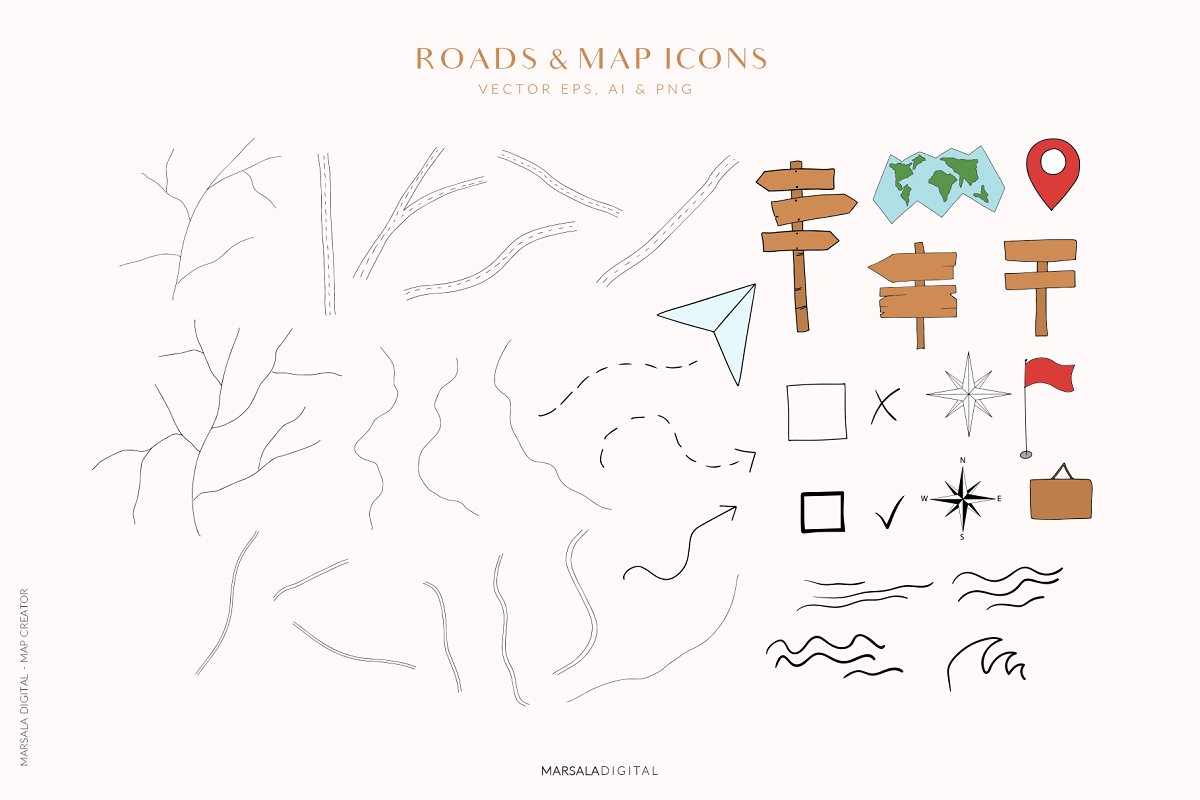 Map Creator Wedding Travel Summer in Illustrations - product preview 10